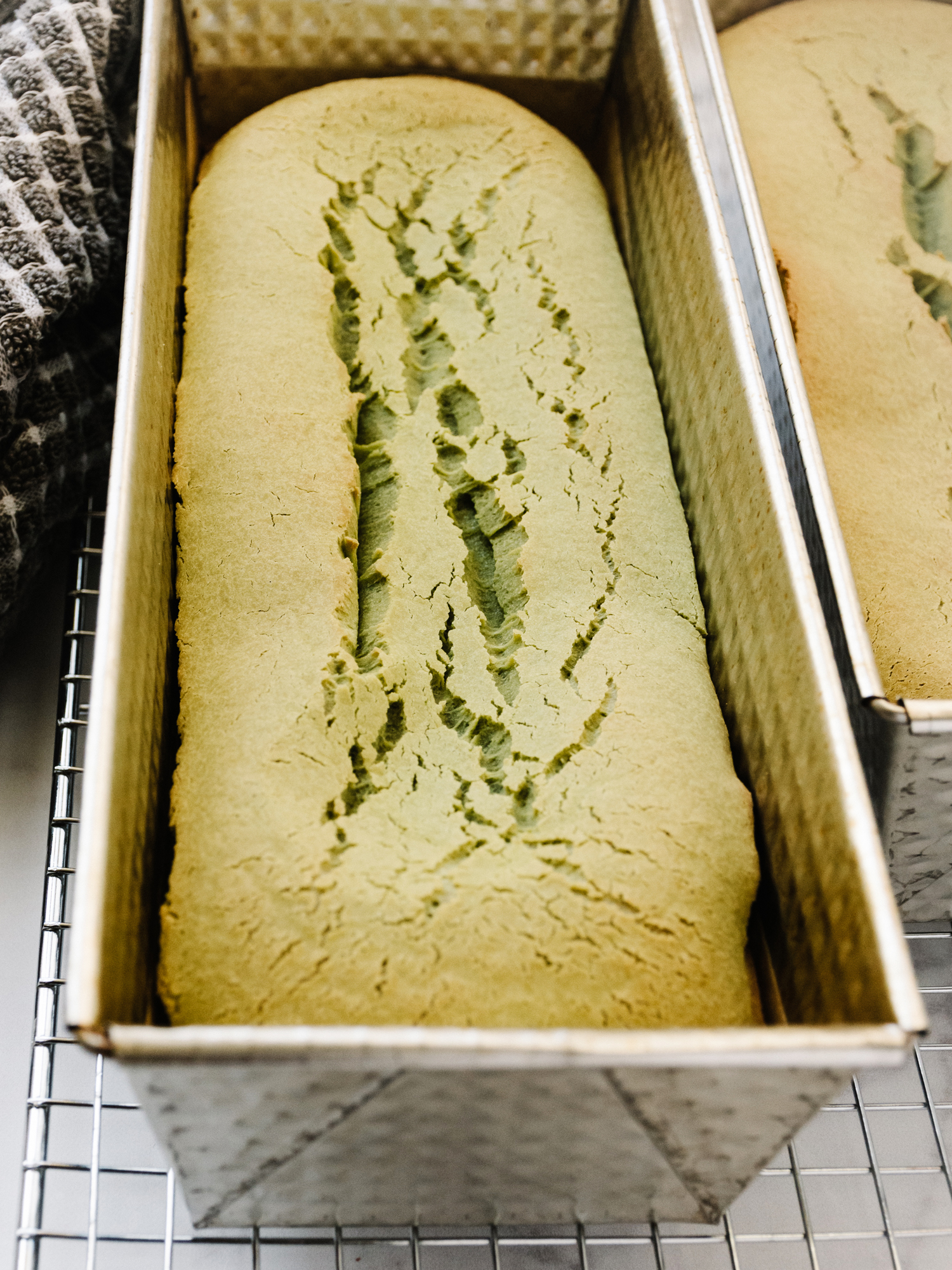 Matcha Mochi Cake, fresh out of the oven!